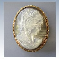 VINTAGE  New Old Stock Large  Mother of Pearl Cameo  Hand Carved