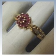VINTAGE 14K Yellow Gold Ruby Ring 9 Bright Rubies Size 8