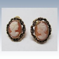 VINTAGE   Cameo Shell   1-20 12K GF  Screw  Earrings  Made in Italy