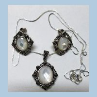 VINTAGE Faceted Mother-of Pearl  Sterling Earring and Necklace Set
