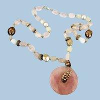 VINTAGE Rose Quartz Pendant and Beautiful Beads