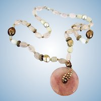 VINTAGE Rose Quartz Pendant and Beautiful Beads