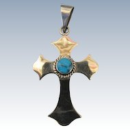 VINTAGE  Mexican Made Taxco Sterling Cross with Turquoise