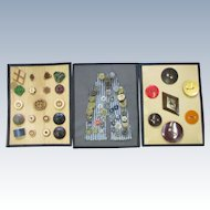 VINTAGE 3 Old Button Cards Wooden, Large and Overall Buttons