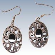 VINTAGE Sterling Hook Earrings With Onyx Sets