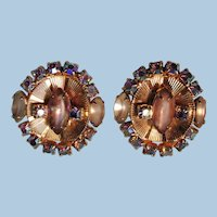 VINTAGE Hobe Glitz Clip Earrings Pastel Pink and Bright Blue