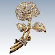 VINTAGE Nolan Miller Large Rhinestone Flower Brooch