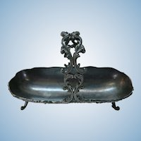 VICTORIAN Metal Silver Basket with Handle.