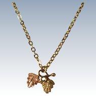 VINTAGE Black Hill's Gold Necklace and  10K Pendant