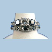 VINTAGE Clear Diamonds and Blue Diamonds from the 80's   Size 6 1/2   A wonderful 14K white Gold Ring