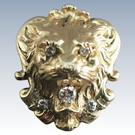 VINTAGE lion Pendant with 5 Diamonds  14K