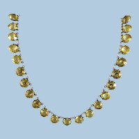 VINTAGE Sunshine Choker Very Old Yellow  Crystal Mounted in Sterling (tested)