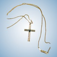"""VINTAGE Gold Cross and Chain 10K  Great Gift  """"Sweet Sixteen"""""""