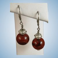 VINTAGE Carnelian Ball Earrings