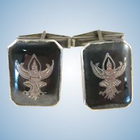VINTAGE  Sterling Siam Nielloware   Cuff-links