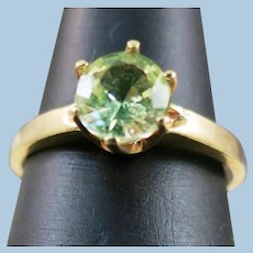 VINTAGE  10k Ice Green Tourmaline Ring in a Six Prong Setting size 5 1/4  Sale for flaw!