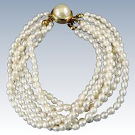 VINTAGE 6 Strand  Fresh-water Pearl Bracelet  Classic