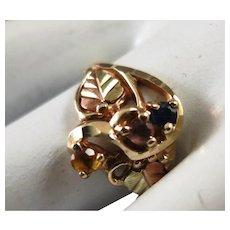 VINTAGE  Black Hills Gold 10K Ring with three Sets  Size 6 3/4