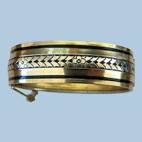 VINTAGE Gold Tone Metal Bangle Bracelet with Black Enamel