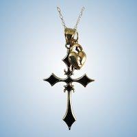 VINTAGE 14k Chain, Heart, Key and 14K Black Enamel Cross