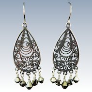 VINTAGE Sterling Earrings Cut-Out Work with Marsites Dangles