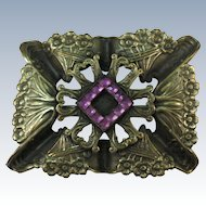 VINTAGE Brass Brooch with Purple Interest  Very Old!