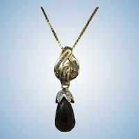 VINTAGE Faceted Teardrop Smoky Quartz Pendant with Diamonds 14K  Pendant and 14K 19 inch Chain
