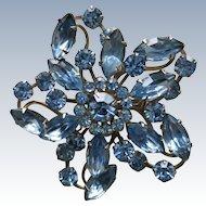 VINTAGE Unsigned Blue Rhinestone Brooch
