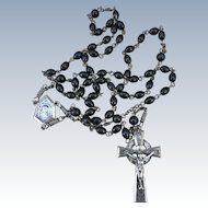 VINTAGE  Black Rosary with Sterling Cross and Connector