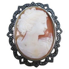 VINTAGE Sterling Marcsite Hand Carved in Italy Cameo
