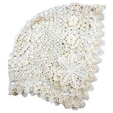 VINTAGE  Crocheted Baby Christening Bonnett  Very Old 30's