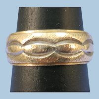 VINTAGE 14K  Brushed  Yellow Gold  Wide Wedding Band Artcarved Size 7 +