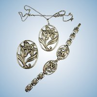 VINTAGE  Three Piece 40's Jewelry Set  Impressed Sterling  Necklace, Bracelet and Brooch