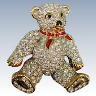 VINTAGE  Swarovski Trademark Crystel Teddy Bear Brooch with Enameling
