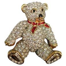 VINTAGE  Swarovski Trademark Crystel Teddy Bear Brooch with Enameling