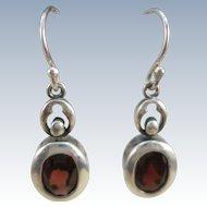 VINTAGE Sterling Garnet Fish-Hook Earrings