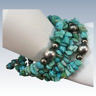 VINTAGE Circle Turquoise Bracelet with 4 Twists