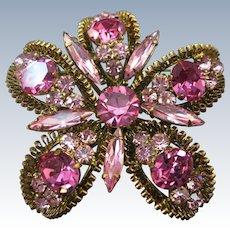 VINTAGE  Beautiful Austrian Shades of Pink  Brooch