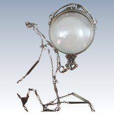 ANTIQUE 14K Pince Nez Folding Eye Glass and Chain   Lorgnette