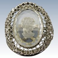 VINTAGE  West German Style Clamper Bracelet Glass Intaglio Cameo
