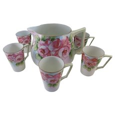 VINTAGE Nippon Lemonade Set 1 Pitcher and 6 Cups  Open Roses