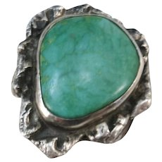 VINTAGE Large Green Turquoise Ring  Size 10 1/2