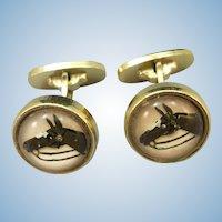 VINTAGE  Intaglio Horse Cuff Links