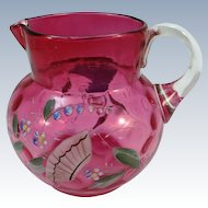 VINTAGE Small Cranberry Pitcher with Enameled Flowers