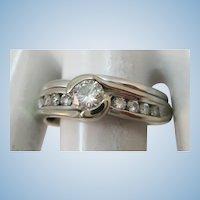 VINTAGE 14k White Gold Wedding Ring Set  Size 5 1/2