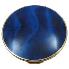 VINTAGE  70's Stratton  Compact  Made In England Enameled Blue