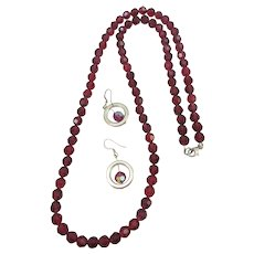 VINTAGE Wine Colored Faceted Glass Bead Necklace and Earrings  26 Inches