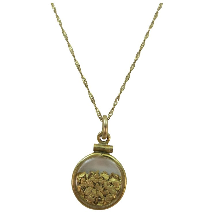 Vintage 10k gold chain with gold filled pendant with gold flakes vintage 10k gold chain with gold filled pendant with gold flakes chain 17 12 aloadofball Images