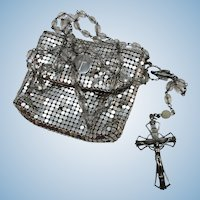 VINTAGE Sterling and Crystal Rosary in Mesh Purse