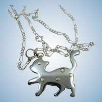 VINTAGE Stainless Steel Kitten with 18K Gold Dots  Sterling Chain 18 Inches Necklace